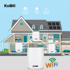 KuWFi Whole Home Mesh WiFi System 3-Pack AC3600 High Speed Seamless Roaming WiFi Network Dual Band 2.4G&5.8G Router