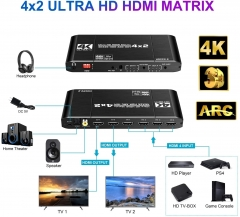 NEWCARE 4x2 HDMI Matrix Switch Splitter, 4K@60Hz 4:4:4 HDMI 2.0 Switcher 4 in 2 Out with IR Remote Controller Supports HDCP 2.2 18Gbps,Ultra HD 4K x 2