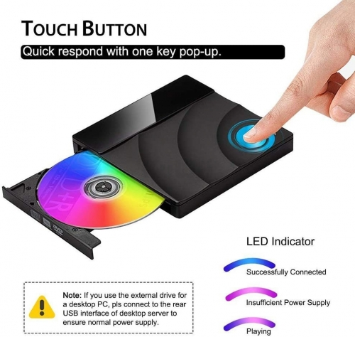 Roll over image to zoom in USB3.0 External DVD CD Drive Burner Player, High Speed Data Transfer Portable DVD Reader Touch Control External Optical