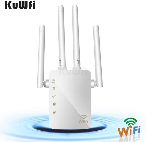 KuWFi WiFi Range Extender 1200Mbps Repeater with Ethernet Ports 2.4 & 5GHz Dual Band Signal Booster for The House