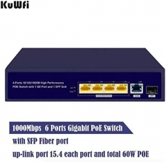 KuWFi Gigabit Ethernet POE Switch 6 ports Gigabit PoE switch with Gigabit SFP fiber injector, Gigabit up-link port and Gigabit PoE ports All 6 ports s