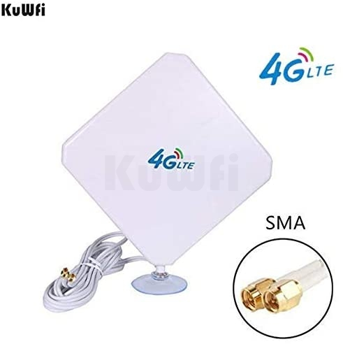 KuWFi 4G LTE Antenna 35dBi SMA Connector Long Range Network with SMA Male C for 4G Modem/Router/Hotspot with Suction Cup