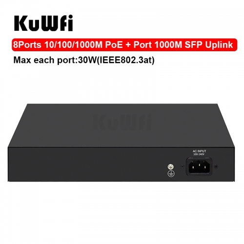 KuWFi 10 Port Gigabit Layer 2 Managed POE Switch 10/100/1000Mbps RJ45 Hub for IP Cameara Transmission Distance 100 Meters