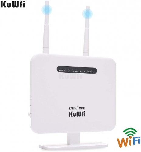 KuWFi 4G LTE Mobile WiFi Hotspot Unlocked Travel Partner Wireless 4G Router with SIM Card Slot Support B1/B3/B5/B7/B8/B20 Perfectly with Home/Office