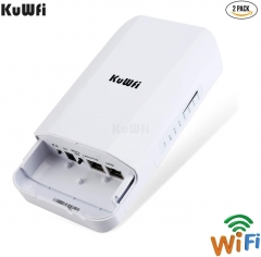 KuWFi 300Mbps outdoor wireless bridge long-distance point-to-point WiFi extender, WiFi transmitter 14DBi high gain access point, Wi-Fi bridge, easy se