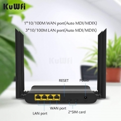 KuWFi Wireless Cable Router, Unlocked 4G Wireless Router with Dual SIM Card High Speed WiFi router with 5dBi High Gain Antenna for Home Office Interne