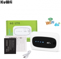 KuWFi Unlocked 4G LTE Mobile Wi-Fi Router, Mini Mobile Hotspot Portable 150Mbps 4G WiFi Router with SIM Micro SD Card Slot Universal 3G 4G WCDMA GSM M