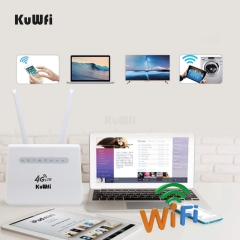 Click to open expanded view KuWFi 4G Router, 300Mbps 4G LTE Router CPE with SIM card and Lan port Mobile WiFi Wireless Router Work Support 32 WiFi Use