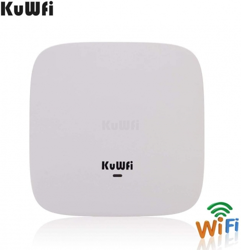 KuWFi Ceiling Mount Wireless Access Point, Dual Band Wireless Wi-Fi AP Router with 48V POE Long Range Wall Mount Ceiling Router Supply a Stable Wirele
