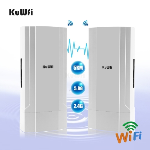 KuWFi 2-Pack Outdoor 5KM Point to Point Wireless Bridge High Power Wireless Access Point 11AC 1200Mbps 2.4&5.8G Extender WiFi Repeater for IP Camera