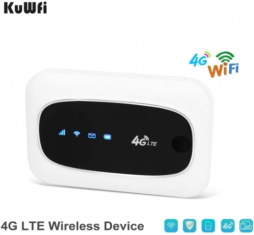 KuWFi 4G LTE Mobile WiFi Hotspot Travel Router Partner Wireless SIM Routers with SD SIM Card Slot Support LTE FDD/TDD Work for USA/CA/MX Europe Africa