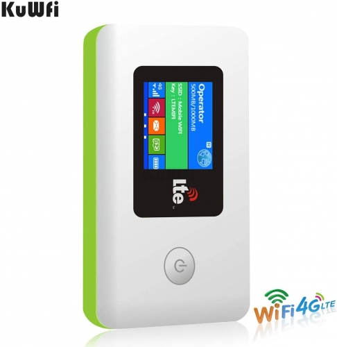 KuWFi 4G LTE Travel Router 100Mbps Mobile WiFi Hotspot Pocket Portable Wireless Unlock Mini Wi-Fi Modem with SIM Card Slot Not Including SIM Card Supp