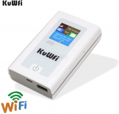 KuWFi Portable 5200mAH Power Bank 3G 4G Wireless Router 150Mbps cat4 4G Mobile WiFi Hotspot with SIM Card Slot Work with EU Asia (sim Card not Include