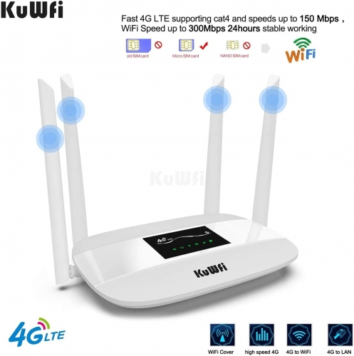 KuWFi 300Mbps 4G LTE CPE, Unlocked 4G CPE Wireless Router with SIM Card Solt with Antenna support 32Uusers