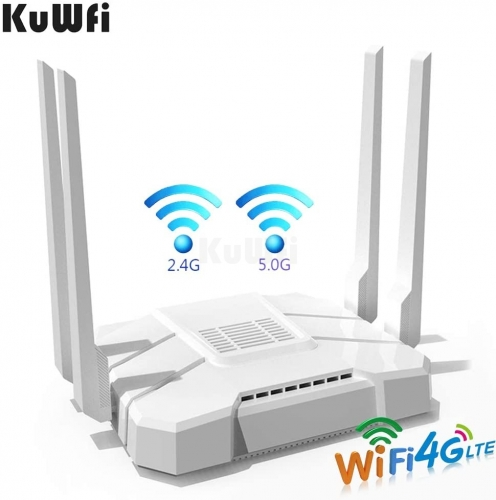 KuWFi AC1200Mbps 4G LTE WiFi Router 5GHz Gigabit Dual Band Wireless Internet Smart OpenWRT WiFi Routers with SIM Card Slot for Home/Office Work with .