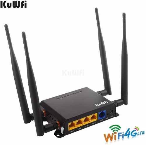 KuWFi firmware 300Mbps 3G 4G LTE Car WiFi Wireless Router Extender Strong Signal Cat6 WiFi Routers with USB Port SIM Card Slot with External Antenna