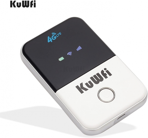 KuWFi 4G LTE Mobile WiFi Hotspot Unlocked Travel Partner Wireless 4G Router with SIM Card Slot Support LTE FDD B1/B3/B5 Support 10userS for business